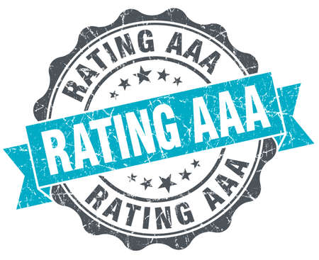 aaa: rating aaa vintage turquoise seal isolated on white Stock Photo