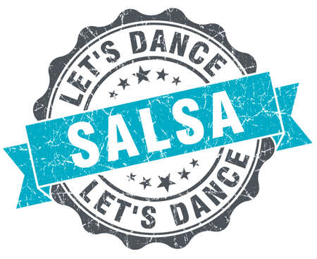 salsa dance vintage turquoise seal isolated on white Stock Photo