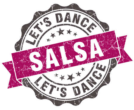salsa dance: salsa dance grunge violet seal isolated on white