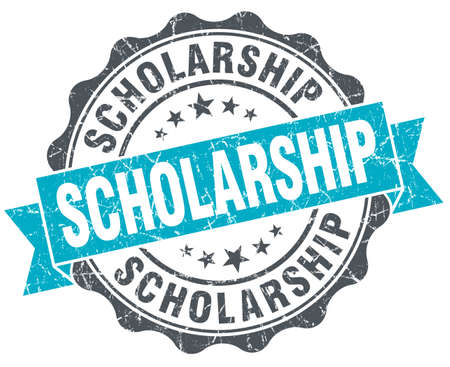 scholarship: scholarship vintage turquoise seal isolated on white