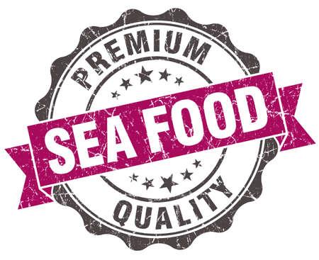 sea food: sea food grunge violet seal isolated on white