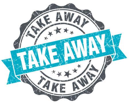 take away: take away vintage turquoise seal isolated on white Stock Photo