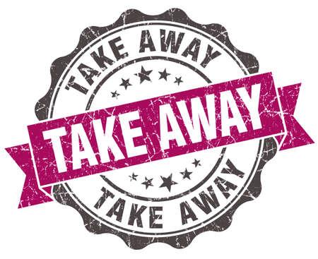 take away: take away grunge violet seal isolated on white Stock Photo