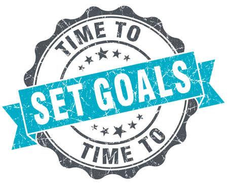 metas: tiempo para establecer metas sello turquesa vendimia aislado en blanco