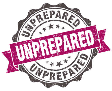 unprepared: unprepared grunge violet seal isolated on white Stock Photo