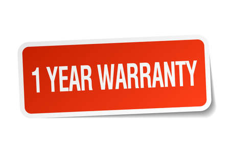 1 year warranty: 1 year warranty red square sticker isolated on white