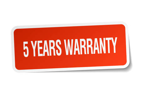 5 years: 5 years warranty red square sticker isolated on white