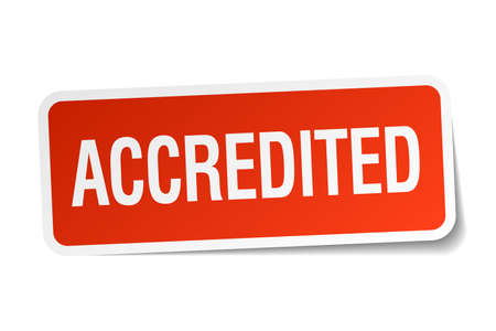 accredited: accredited red square sticker isolated on white
