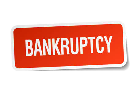 bankruptcy: bankruptcy red square sticker isolated on white
