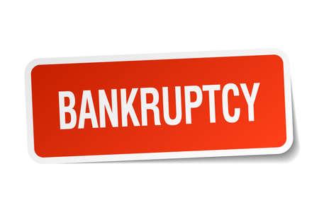 faillite: faillite autocollant carr� rouge isol� sur blanc Illustration