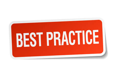 best practice: best practice red square sticker isolated on white Illustration