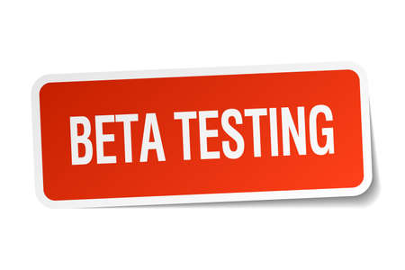 tester: beta testing red square sticker isolated on white Illustration