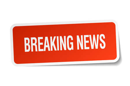 breaking news: breaking news red square sticker isolated on white