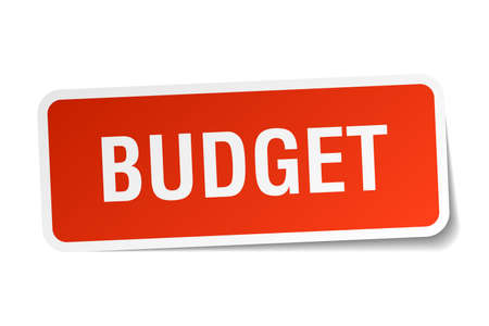 budget: budget red square sticker isolated on white