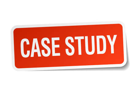 case study: case study red square sticker isolated on white Illustration