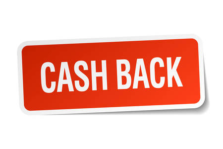 cash back: cash back red square sticker isolated on white Illustration