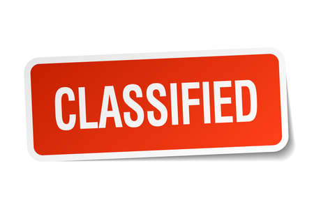 classified: classified red square sticker isolated on white