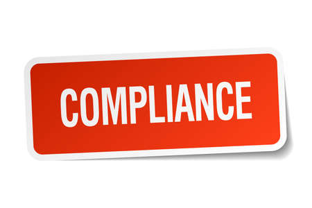 compliance: compliance red square sticker isolated on white