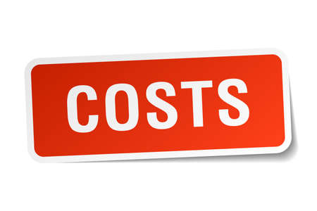costs: costs red square sticker isolated on white