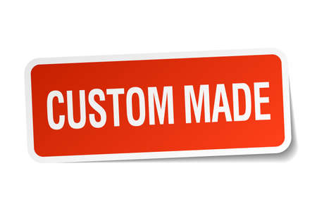 custom made: custom made red square sticker isolated on white