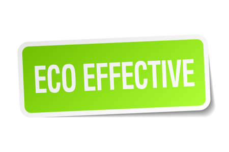 effective: eco effective green square sticker on white background Illustration