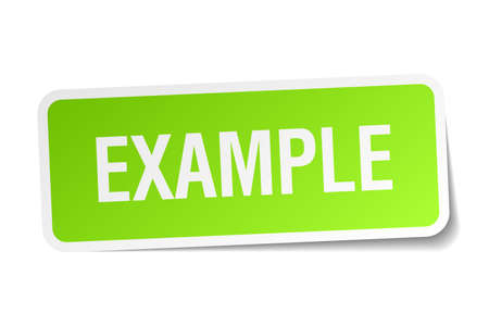 an example: example green square sticker on white background