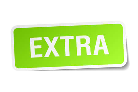 extra: extra green square sticker on white background Illustration