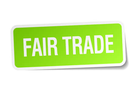 fair trade: fair trade green square sticker on white background