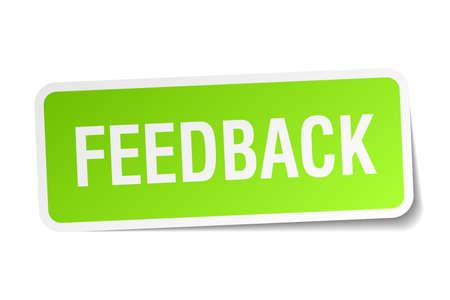 feedback label: feedback green square sticker on white background Illustration