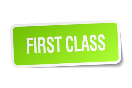 first class: first class green square sticker on white background Illustration