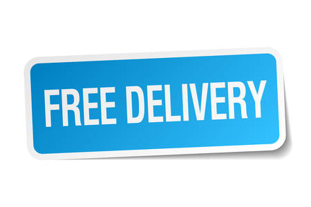 free delivery blue square sticker isolated on white Vector