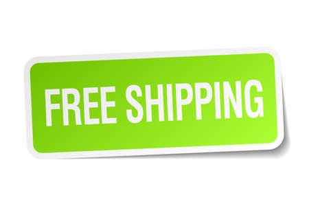 free shipping green square sticker on white background Vector