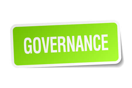 governance: governance green square sticker on white background