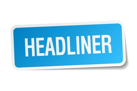 headliner: headliner blue square sticker isolated on white Illustration