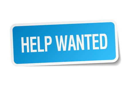 help wanted sign: ayudar querido pegatina cuadrado azul aislado en blanco Vectores
