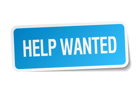 help wanted sign: help wanted blue square sticker isolated on white Illustration