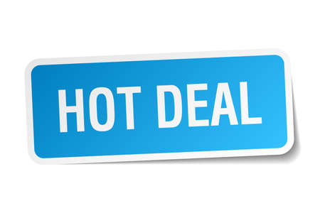 hot deal: hot deal blue square sticker isolated on white