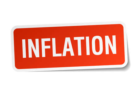 inflation: inflation red square sticker isolated on white Illustration