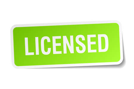 licensed: licensed green square sticker on white background