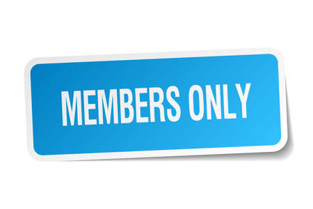 members only blue square sticker isolated on white