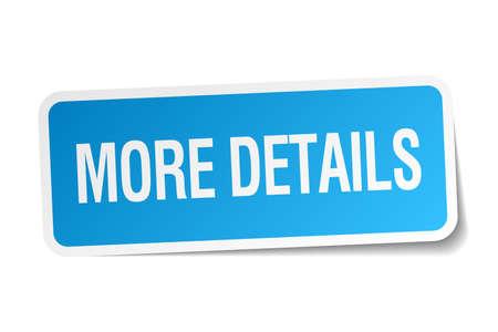 details: more details blue square sticker isolated on white Illustration