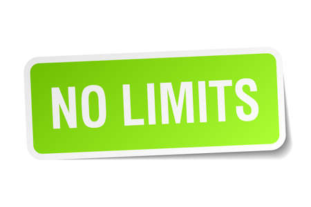 no limits: no limits green square sticker on white background