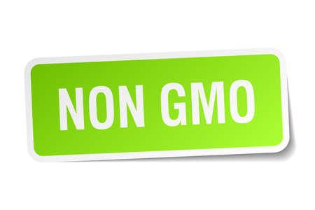 gmo: non gmo green square sticker on white background Illustration