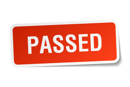 passed: passed red square sticker isolated on white