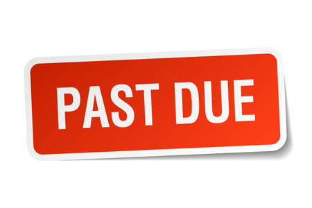 past: past due red square sticker isolated on white