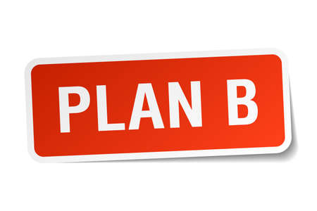 plan b: plan b red square sticker isolated on white Illustration