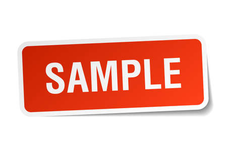 sample red square sticker isolated on white Illustration