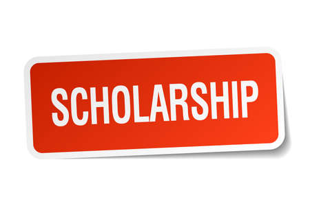 scholarship: scholarship red square sticker isolated on white Illustration