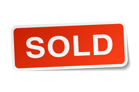 sold isolated: sold red square sticker isolated on white