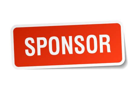 sponsor: sponsor red square sticker isolated on white Illustration
